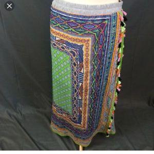 Bohemian tassel fringe maxi skirt